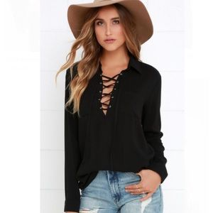 Lulus LONG SLEEVE LACE-UP TOP